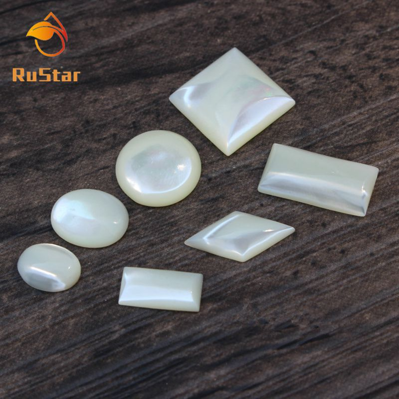 50pcs lot Wholesale White Natural Oval Round square Cabochon Mother of Pearl shell for DIY Jewelry