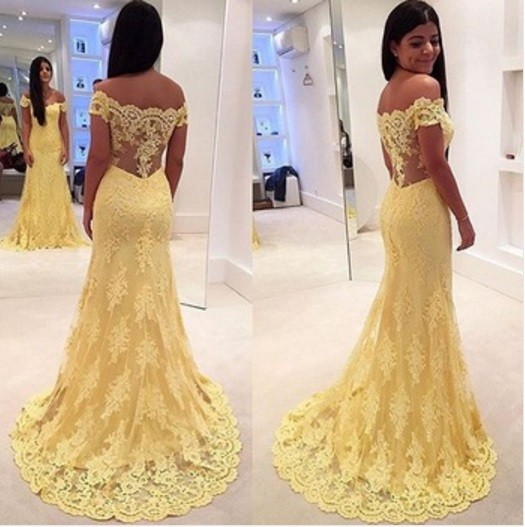 Mermaid   Prom     Dress   2019 Yellow Off the Shoulder Sleeveless Trumpet with Appliques Lace Tulle vestido formatura Evening   Dress