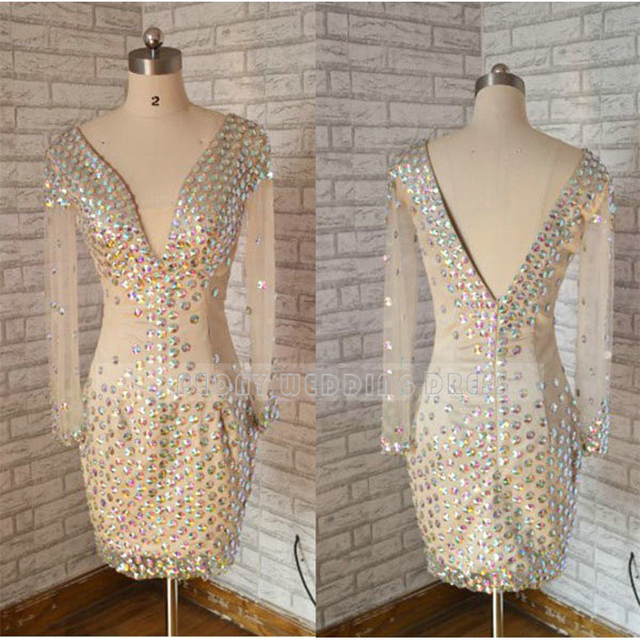 Sparkly Short Champagne/Nude Rhinestone Prom Dresses Deep V Neck ...