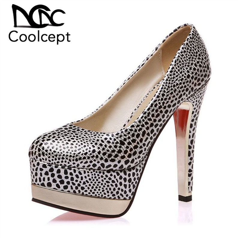 Coolcept Size 33 47 Ladies Polka Dot High Heels Shoes Fashion Platform Pumps Round Toe Spike Toe Party Ladies Office Footwear