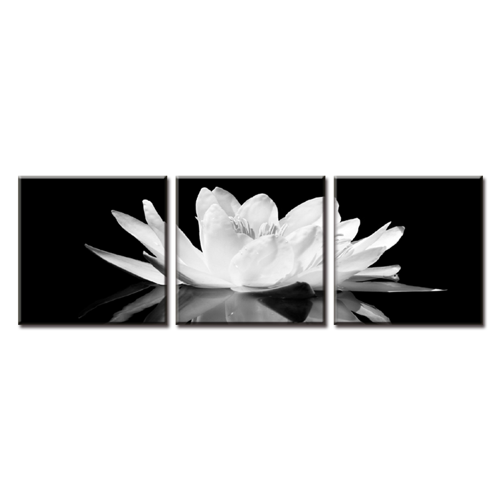 3 Pcs Set Framed White Lotus In Black Wall Art Simple And Flower Painting Prints On Canvas With Frame Home Decor Calligraphy From