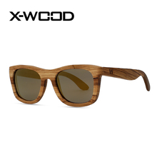 X-WOOD New Fashion Casual Square Zebra Wood Polarized Sunglasses Men Women Goggles Men Sunglass Brown Black Sun Glasses