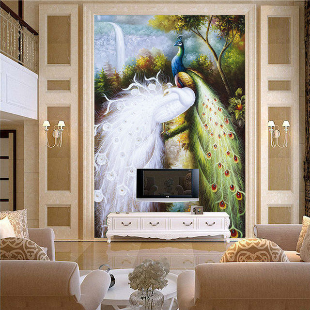 Elegant Peacocks Mural Large Size photo Wallpaper Silk wall art Room decor Bedroom Hallway Childrenu0027s Room & Elegant Peacocks Mural Large Size photo Wallpaper Silk wall art Room ...