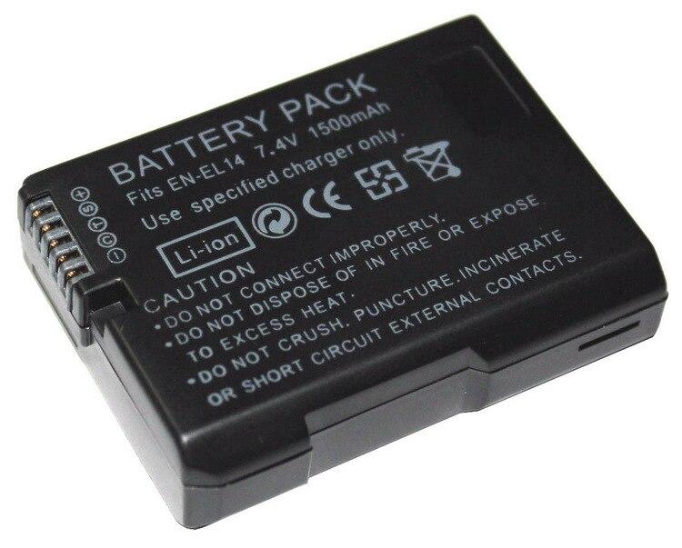 2 piezas EN-EL14 EN-EL14A 1500 mAh 7,4 V Digital recargable batería de la cámara para Nikon D5300 D5200 D5100 D3200 D3100 D3300 p7000
