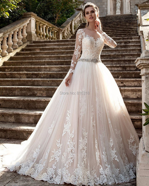 vestido de noiva princesa com manga Long Sleeve lace Wedding Dress Champagne See Through BackPrincess Ball Gown Wedding Dresses