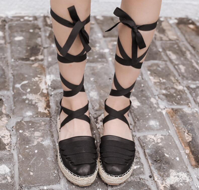 ladies summer sandals women flats footwear woman casual wedge shoes chaussure Zapatos Mujer hemp rope cross-tied lace up F180081 2016 hot low top wrinkled skin cockles trainers kanye west chaussure flats lace up mens shoes zapatos mujer casual shoes