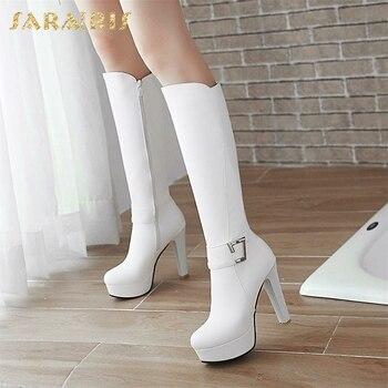 fc6024f7 SARAIRIS 2018 talla grande 32-43 añadir piel invierno zapatos mujer moda  tacones altos rodilla-Alto botas plataforma zapatos de fiesta para mujer