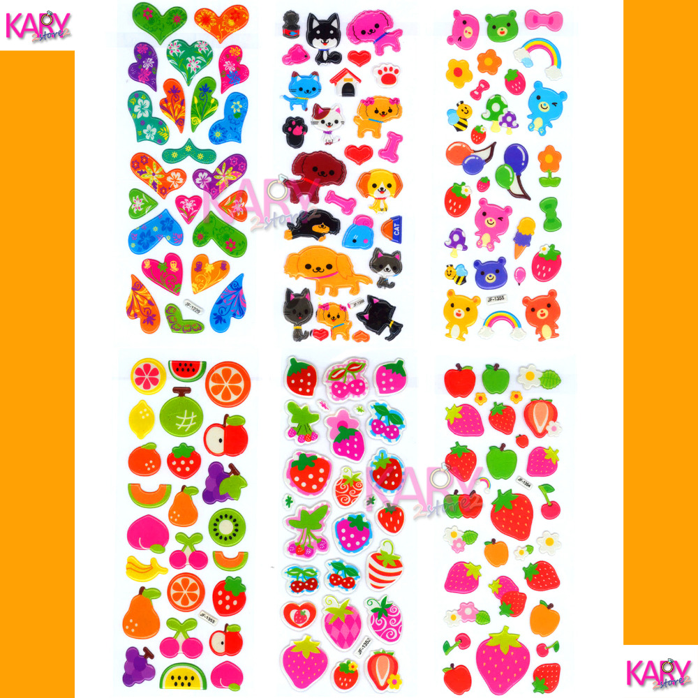 6 sheets kawaii cute fruits pets animals scrapbooking bubble puffy stickers emoji reward kids children toys factory direct sales in stickers from toys
