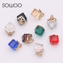 20pcs/lot  Rhinestone Square Buckle  Crystal Diamond Button with gold shank for DIY earing finding and pendant fashion button
