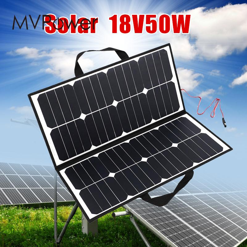 50W 18V Outdoor Camping Folding Solar Panel Board Charger For Battery Covenience цена и фото