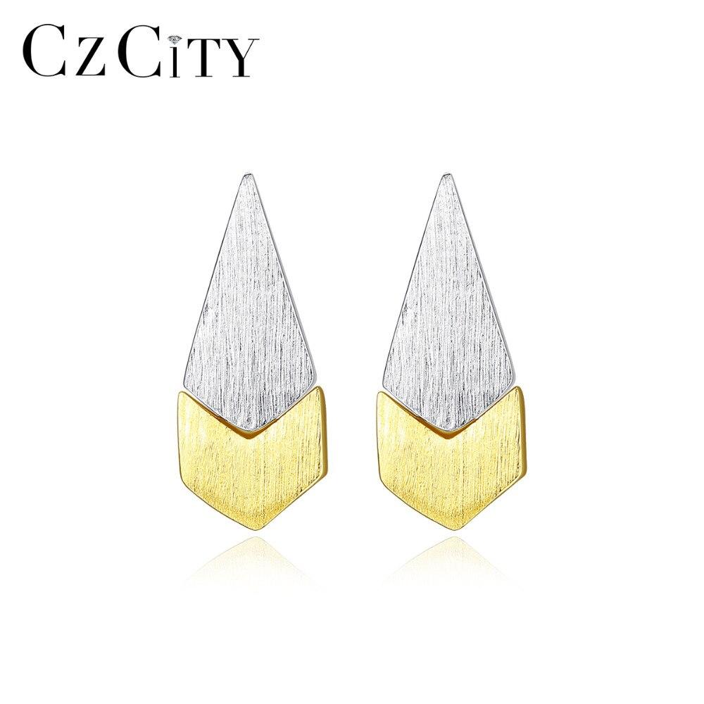 CZCITY Brush Solid 925 Sterling Silver Fan-shaped Stud Earrings For Women Fine Jewelry Silver Boucle D'Oreille Femme Gift SE0390