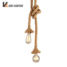 Vintage Rope Pendant Lights Loft Creative Industrial Lamp Edison Bulb American Style For restaurant/bar home decoration(China)