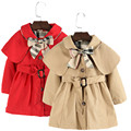 90-130 High Quality Girls Trench Coat Red Beige Color Longsleeve Toddle Girls Coat Jacket Windbreaker Children Clothes