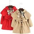 90-130 de Alta Qualidade Meninas Trench Coat Vermelho Bege Cor Longsleeve Toddle Meninas Blusão Jaqueta Casaco Crianças Roupas
