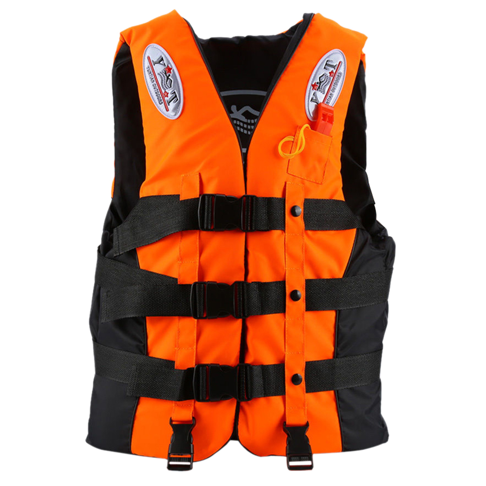 Durable Life Jacket Universal Swimming Boating Ski Vest +Whistle, Orange