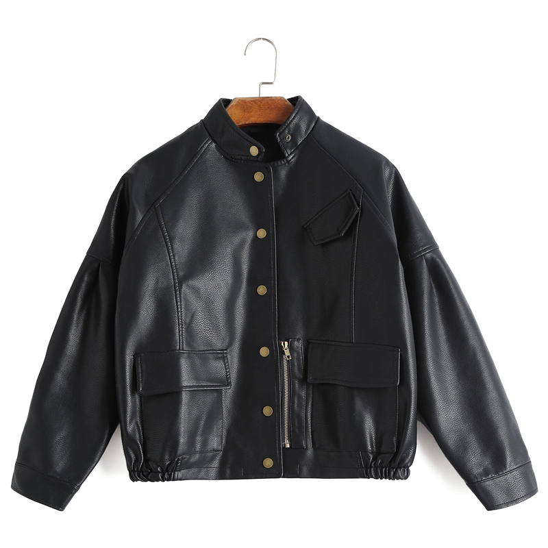 FTLZZ New Autumn Women Vintage Pu   Leather   Jacket Harajuku Baseball Uniform Short Design Loose Fit Faux   Leather   Street Outwear