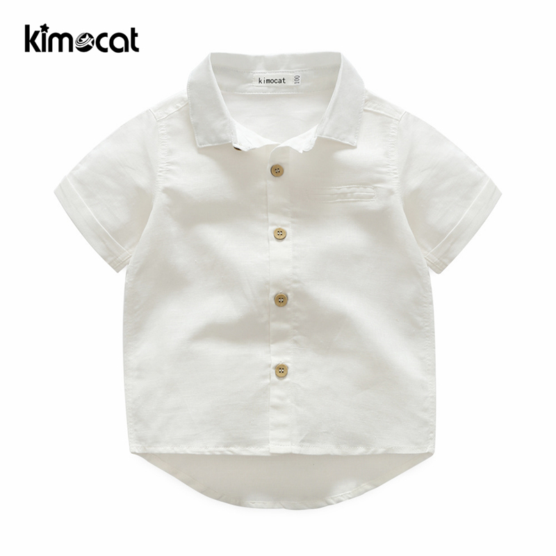 Kimocat Baby Boy Clothes Kids Boys Casual Solid Shirt Short Sleeve Summer Cotton Shirt For Boy 2-8Y White Baby Kids Boys Blouse baby boys kids formal suits summer boy gentleman clothes set short sleeve shirt gray overalls trousers outfit for children