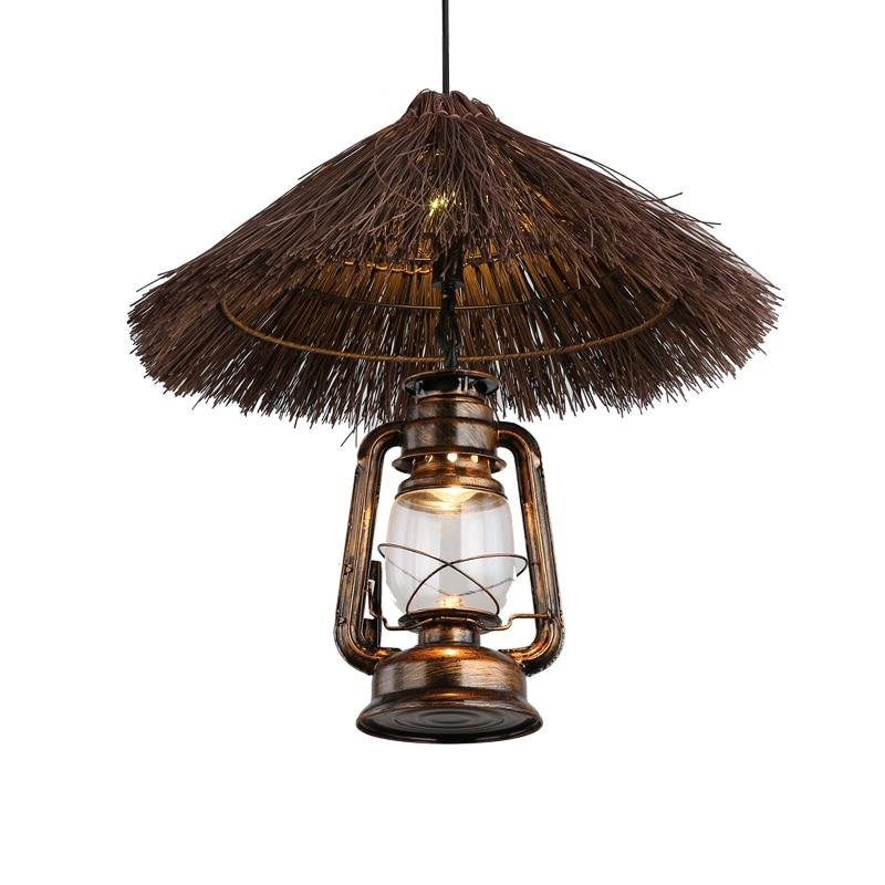 Vintage Pendant Lights Loft Dining Living Room Pendant Lamp Hand Woven Cane Pendant Lamp Art Industrial Store Corridor Lighting