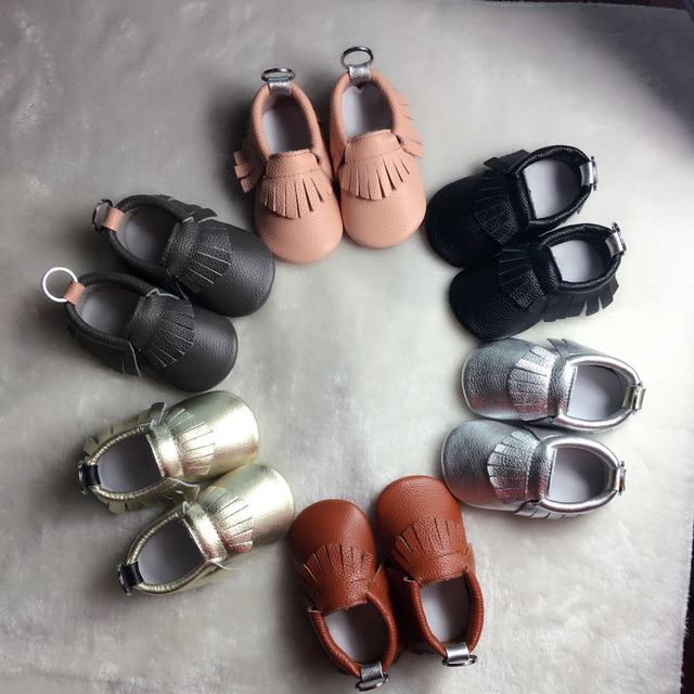 50pairs/lot New Genuine Leather Baby Moccasins Shoes solid keychain design Baby Shoes Newborn first walker Infant Shoes
