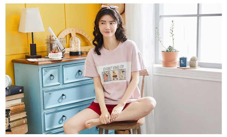 חדש אופנה תלמיד של פיג 'מה סט קצר שרוול o-צוואר כותנה הלבשת בית חליפת הדפסת חמוד פיג נשים nightwear פיג' מה mujer
