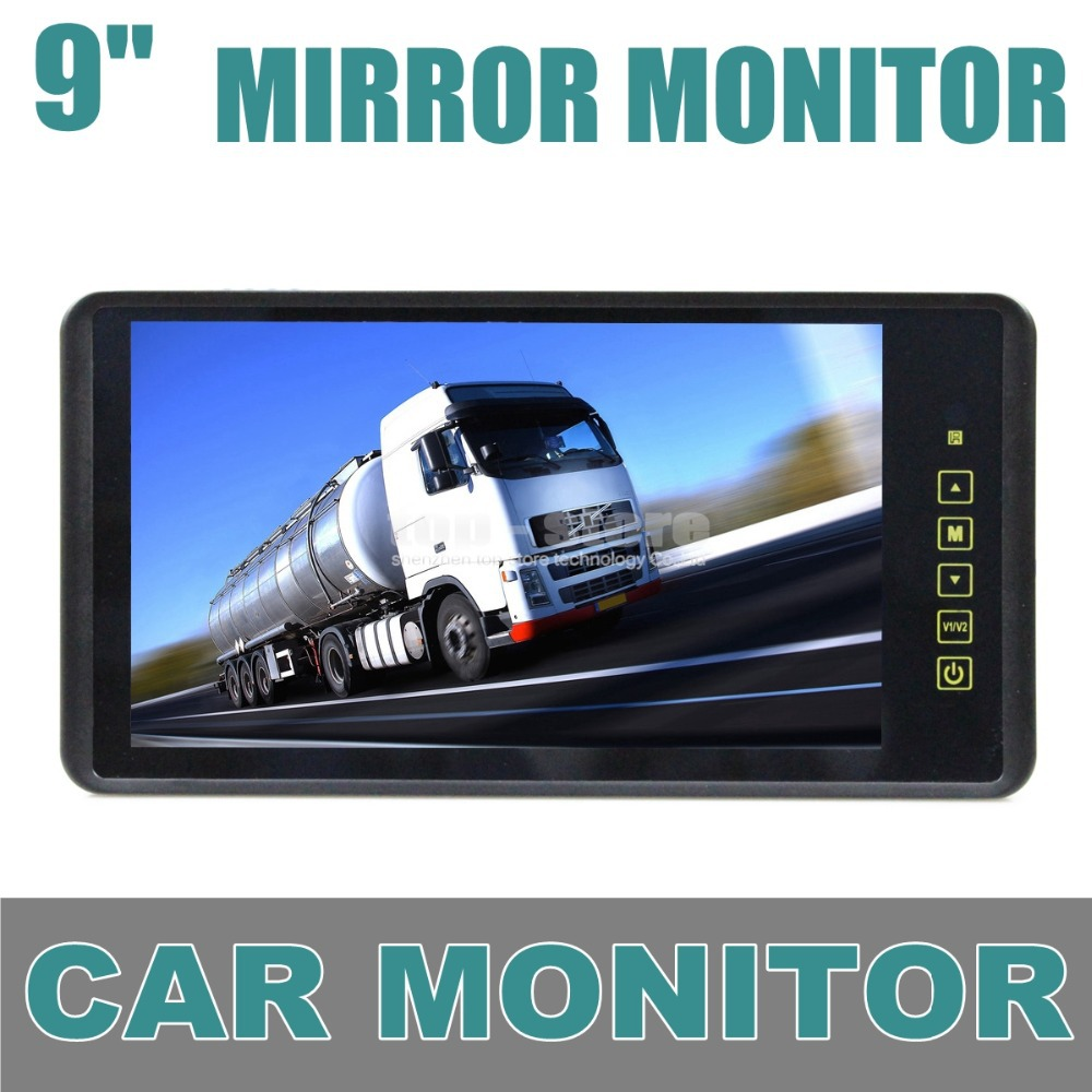 DIYKIT 9 Inch TFT LCD Display Rear View Car Mirror Monitor With 2 Video Input For Parkign System Car CCD Camera Cam / DVD fashion 3 5 inch tft lcd monitor for rear view system cctv monitor