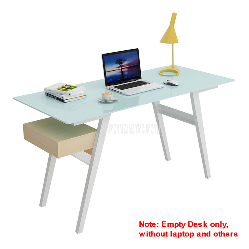 140*60cm Toughened Glass Desktop Benchtop Computer Table Notebook Lapdesk Bedroom Metal Leg Student Study Wood Table 12134#