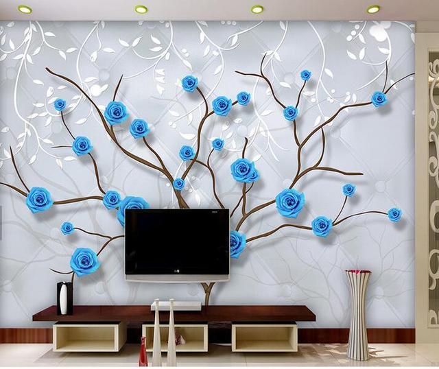 US $9.17 49% OFF|3D Geprägte Tapete Blau Rose Muster TV Hintergrund Moderne  Europa Wand Kunst Wandbild für Wohnzimmer Große Malerei Wohnkultur in ...