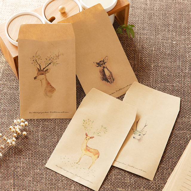 Retro Vintage Deer Envelopescute Animal Kraft Envelope Party Paper Bag Favor