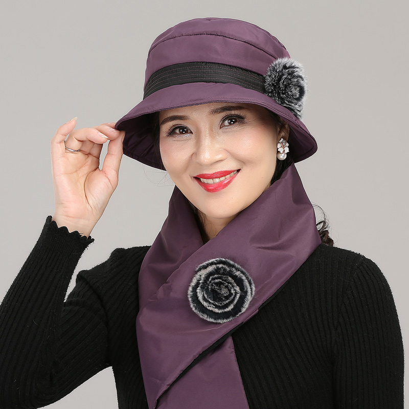 Women Fisherman Hat Autumn Winter Middle Age Female Elegant Warm Cap Mother Christmas Gift Hats Soft Comfortable Scarf H7168