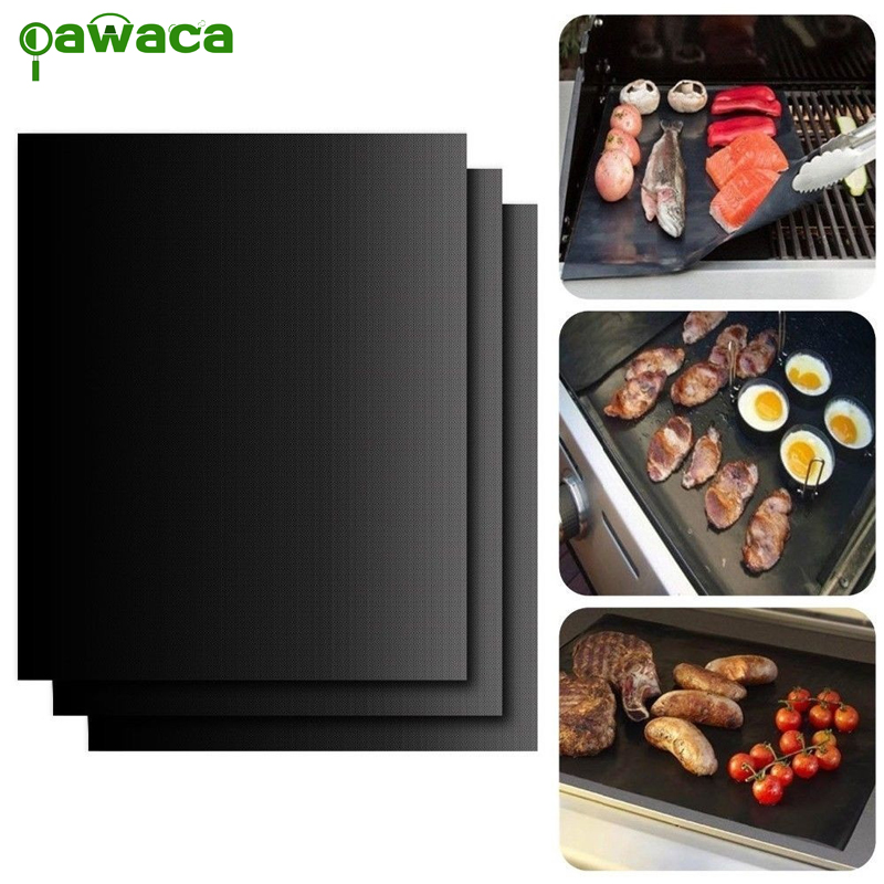 BBQ Grill Mat 3pcs Non Stick BBQ Grill Roast Mat Sheet Cooking Baking Liners Reusable Outdoor Picnic Fry Cooking Barbecue Tool