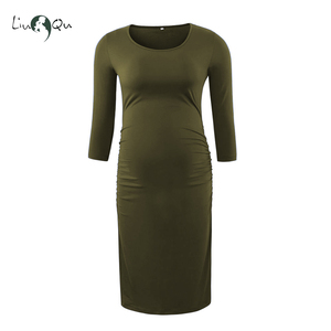 Image 3 - Pack of 3pcs Side Ruched Maternity Dresses 3 quarter Sleeve Bodycon Pregnancy Dress Wrap Maternity Dresses for Photo Shoot