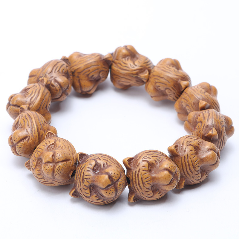 Two Face Tieger Wood Beads Animal Bracelet Men 14mm 18mm Tiger Women Bracelets Bangles