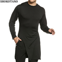 SHOKOTANO 100% Cotton T Shirt Men Solid Black Long Sleeve tshirt Hip Hop Streetwear Longline Slim Fit T-Shirt