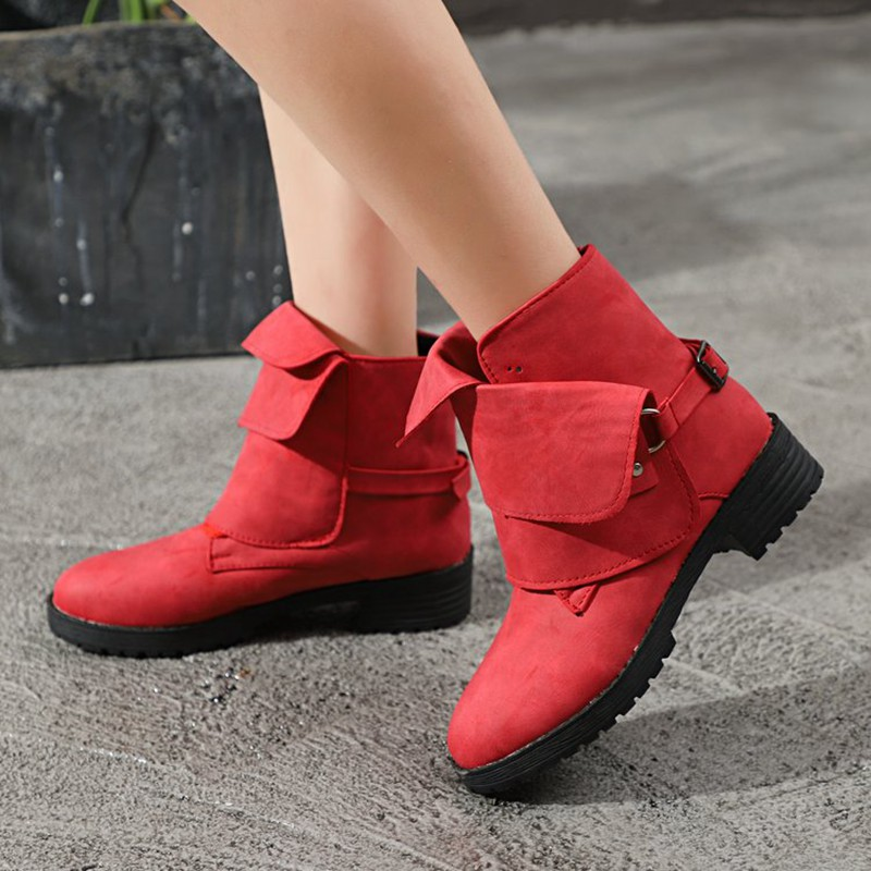 COOTELILI Buckle Shoes Woman PU Leather Ankle Boots For Women 4cm Heels Motorcycle Boots Ladies Autumn Winter Shoes 41 42 43  (13)