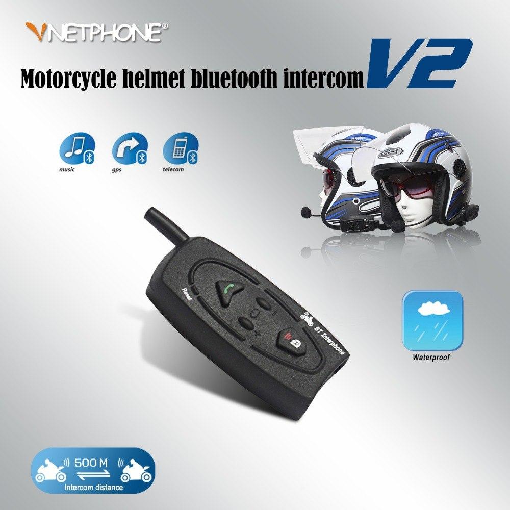 VNETPHONE V2-500m Motorcycle Intercom Helmet Headset Earphone 2 Biker Wireless Bluetooth Intercom Motorcyclists Skier Interphone