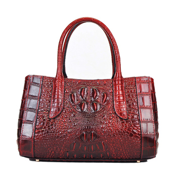 Genuine Leather Women Shoulder Messenger Top Handle Bag Oil Wax Cowhide Crocodile Pattern Casual Sling Cross Body Tote Handbag