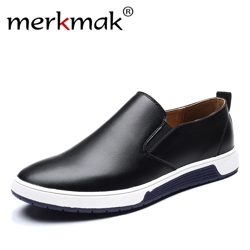 Merkmak Big Size 37-48 Summer Men Leather Loafers Slip On Casual Shoes Mens Moccasins Leisure Driving Shoes Drop Ship