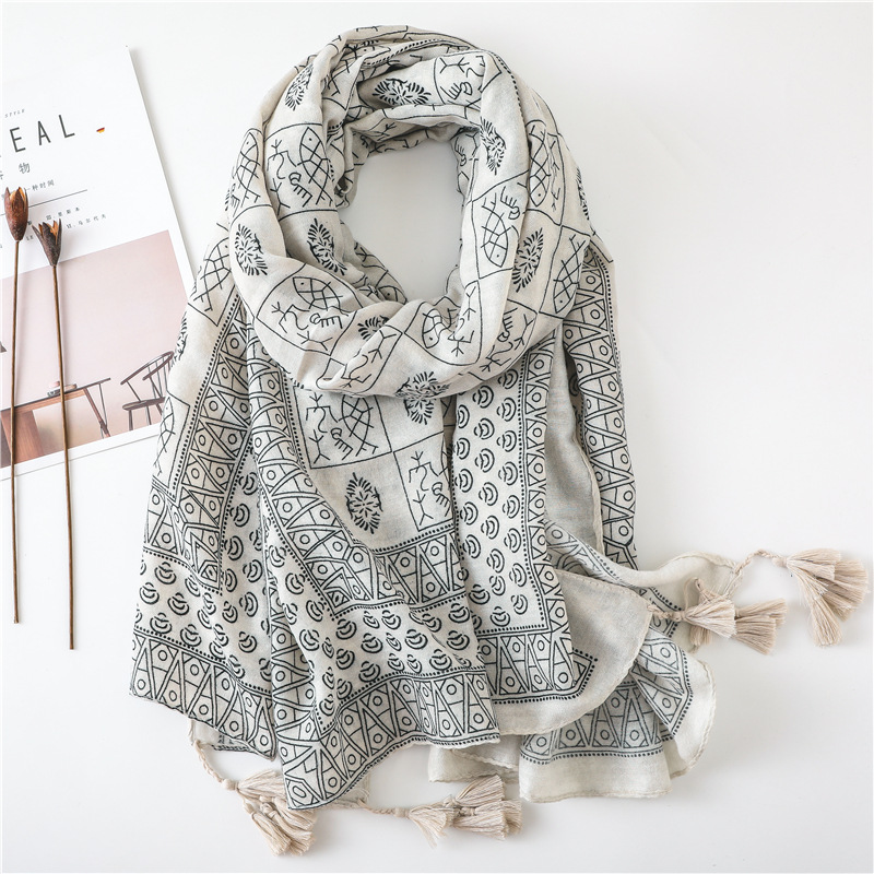Women Cotton Scarf Special Chinese Original Letters Design Hijab Vintage Shawls NEW [3510]