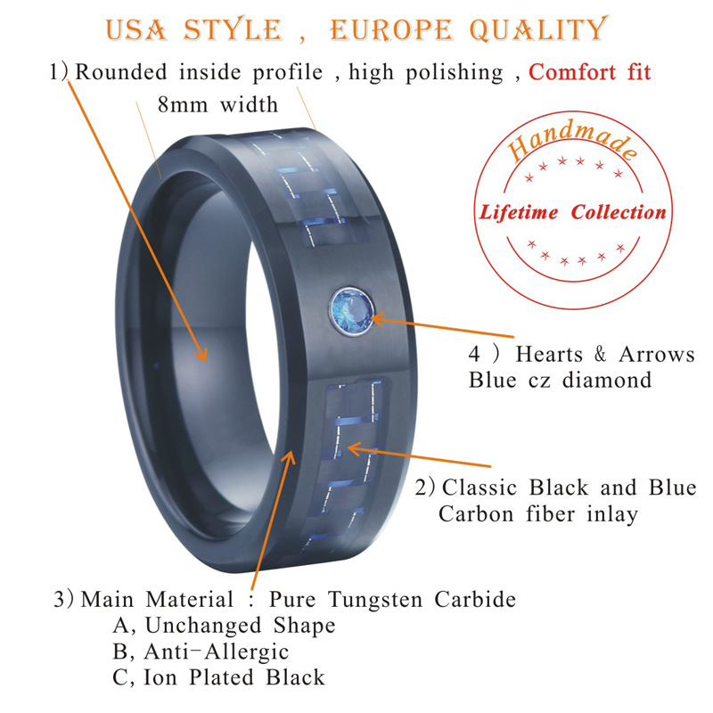 black and blue carbon fiber alliance cz diamond stone wedding band tungsten carbide ring for men and women PVF099