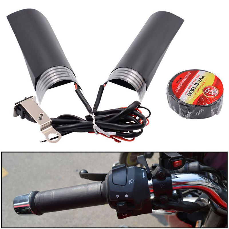 12V Motorcycle Handlebar Heated Grips Warm Pads with Adjustable Switch Universal