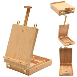 Caballete multifuncional con caja de madera integrada pintura artística cuadro de mesa pintura al óleo maleta caja de escritorio suministros de arte