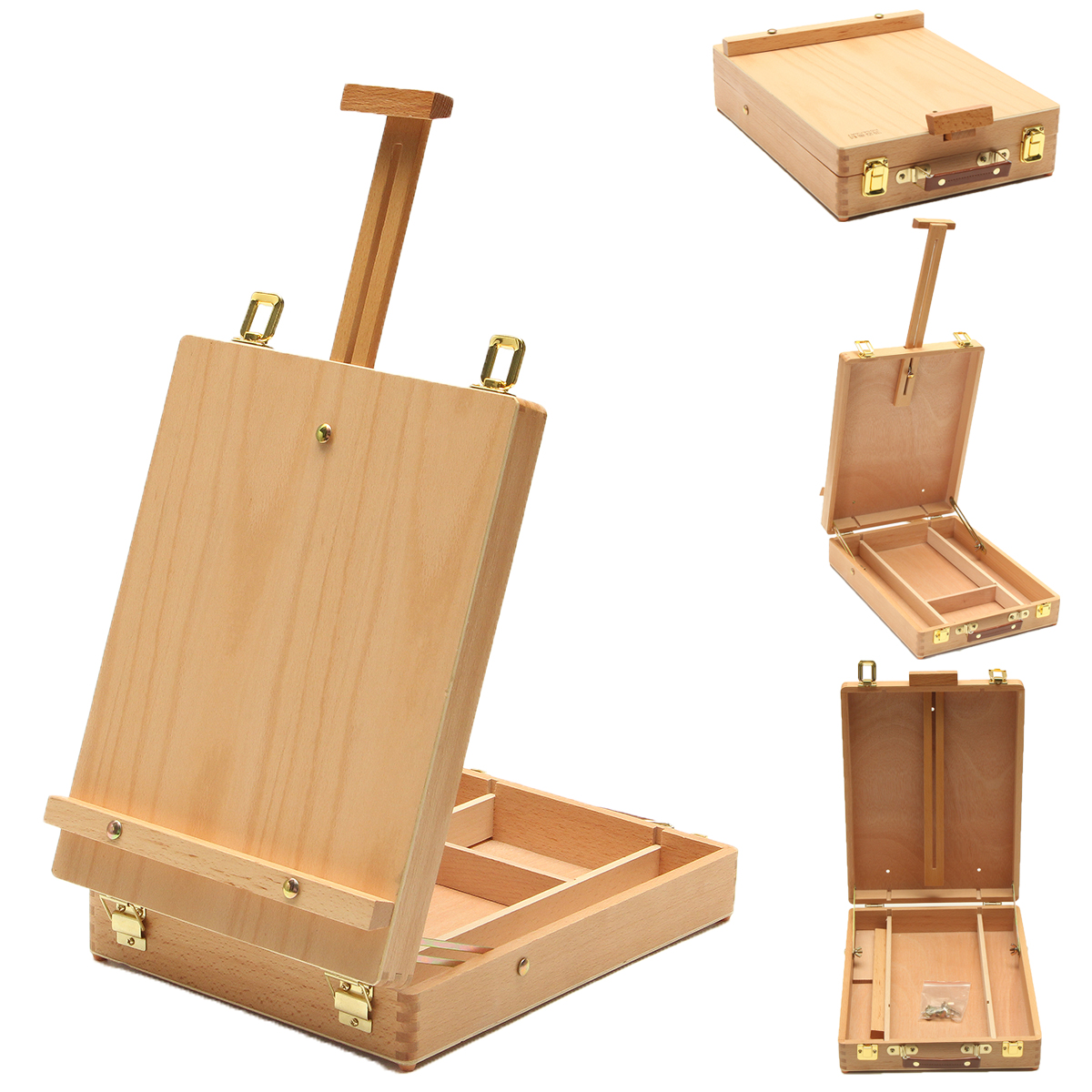 Multifunctional Easel with Integrated Wooden Box Art Drawing Painting Table Box Oil Paint Suitcase Desktop Box Art Supplies цены