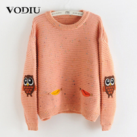 Vodiu Winter Women Sweater Female Women Sweaters And Pullovers Long Sleeve Knitting Pockets Owl Embroidery Causal