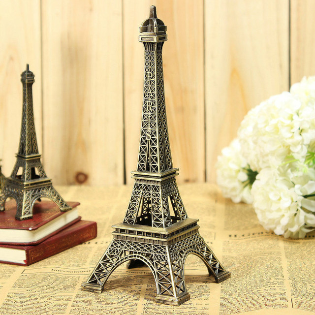 8cm-60cm Antiques Bronze Retro Paris Eiffel Tower Home Decor Table Ornament Statue Metal Steel 5