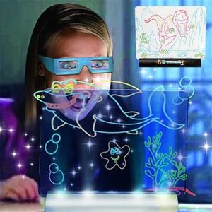 Image 4 - 3D Light Up Tavolo Da Disegno Giocattoli Dinosauro LCD precoce Educativi Pittura Cancellabile Doodle Magic Bagliore Pad con 3D Occhiali Per Bambini regalo
