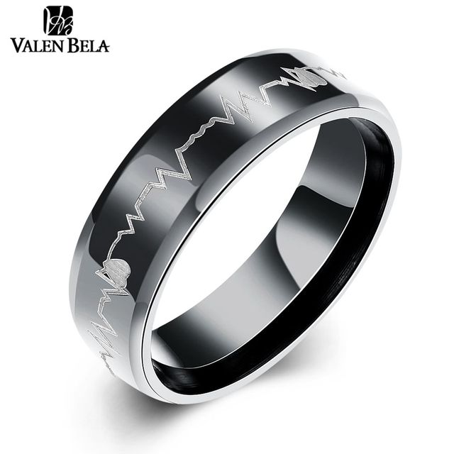 Valen Bela Love Heart Rate Black Mens Wedding Band Ring Anium Steel Men Jewelry Jz5730