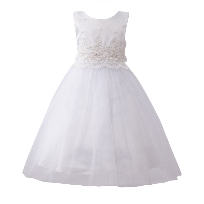 Summer Cute Baby Girls Kids Solid Princess Ball Gown Dresses Kids Sleeveless O-neck Formal Party Bowknot Dresses 3 Colors cute girls fashion dress summer kid girls sleeveless belt flowers tutu princess party dresses ball gown kids dresses