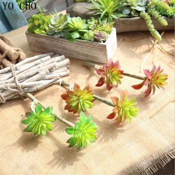 YO CHO 9PCS 3 Colours Artificial Succulent  Flower Plants Home Decor DIY Fake Succulents Ornaments Christmas Decorations Grass