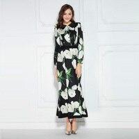 Europe Brand 2016 Autumn Newest Silk Turn Down Collar Full Sleeve Tulip Print Temperament Elegant Mid