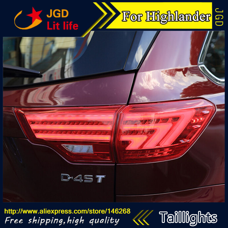 Car Styling tail lights for Toyota Highlander 2015 LED Tail Lamp rear trunk lamp cover drl+signal+brake+reverse car rear trunk security shield cargo cover for volkswagen vw tiguan 2016 2017 2018 high qualit black beige auto accessories